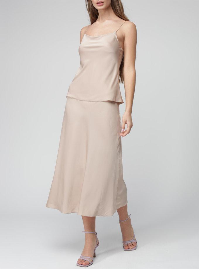 Шелковая юбка миди на резинке MISS_SK-010-beige, фото 1 - в интернет магазине KAPSULA