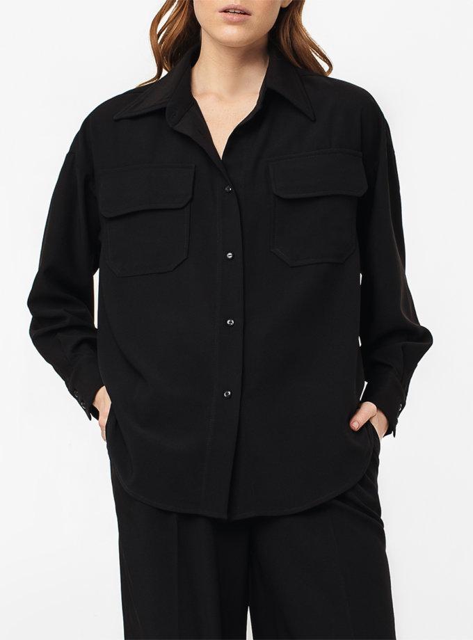 Рубашка свободного кроя со спущенным плечём MGN_2104BK, фото 1 - в интернет магазине KAPSULA