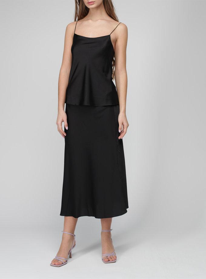 Шелковая юбка миди на резинке MISS_SK-010-black, фото 1 - в интернет магазине KAPSULA