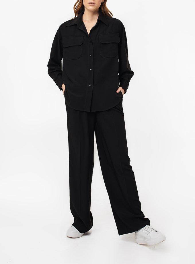 Широкие брюки с защипами MGN_1775BK, фото 1 - в интернет магазине KAPSULA