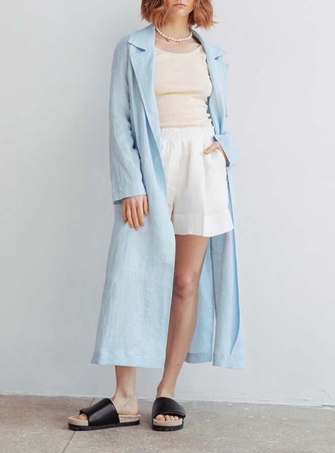 Льняная накидка с карманами BLCGR_BLCN_698, фото 1 - в интернет магазине KAPSULA