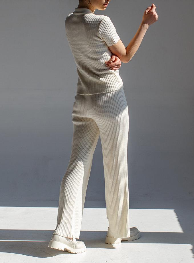 Прямые брюки с высокой талией NBL_2008-TRELBANDMILK, фото 1 - в интернет магазине KAPSULA