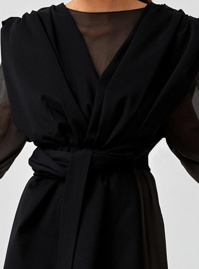 Двухслойное платье с поясом MF-SS21-23, фото 1 - в интернет магазине KAPSULA