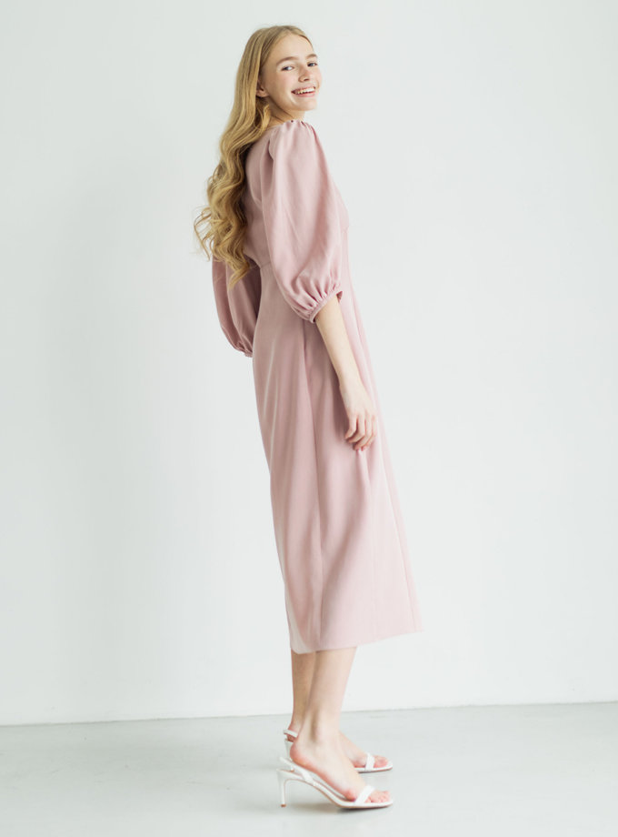 Платье с объемными рукавами из эвкалипта PURE_PO_SS21_4, фото 1 - в интернет магазине KAPSULA