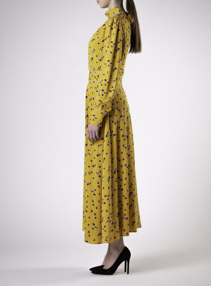 Приталенное платье миди в цветочный принт ALOT_100463, фото 1 - в интернет магазине KAPSULA