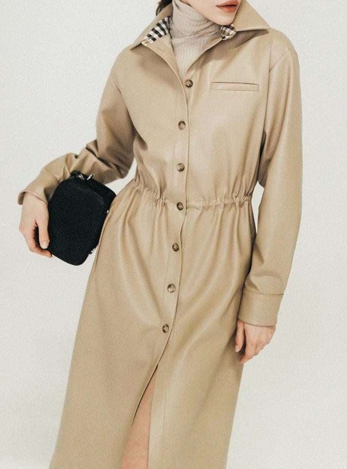 Платье-рубашка из эко-кожи PDH_SS20_0001, фото 1 - в интернет магазине KAPSULA