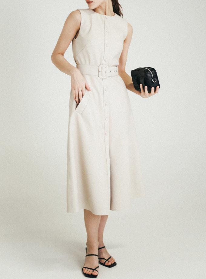 Платье из эко-кожи на кнопках PDH_SS20_0008, фото 1 - в интернет магазине KAPSULA