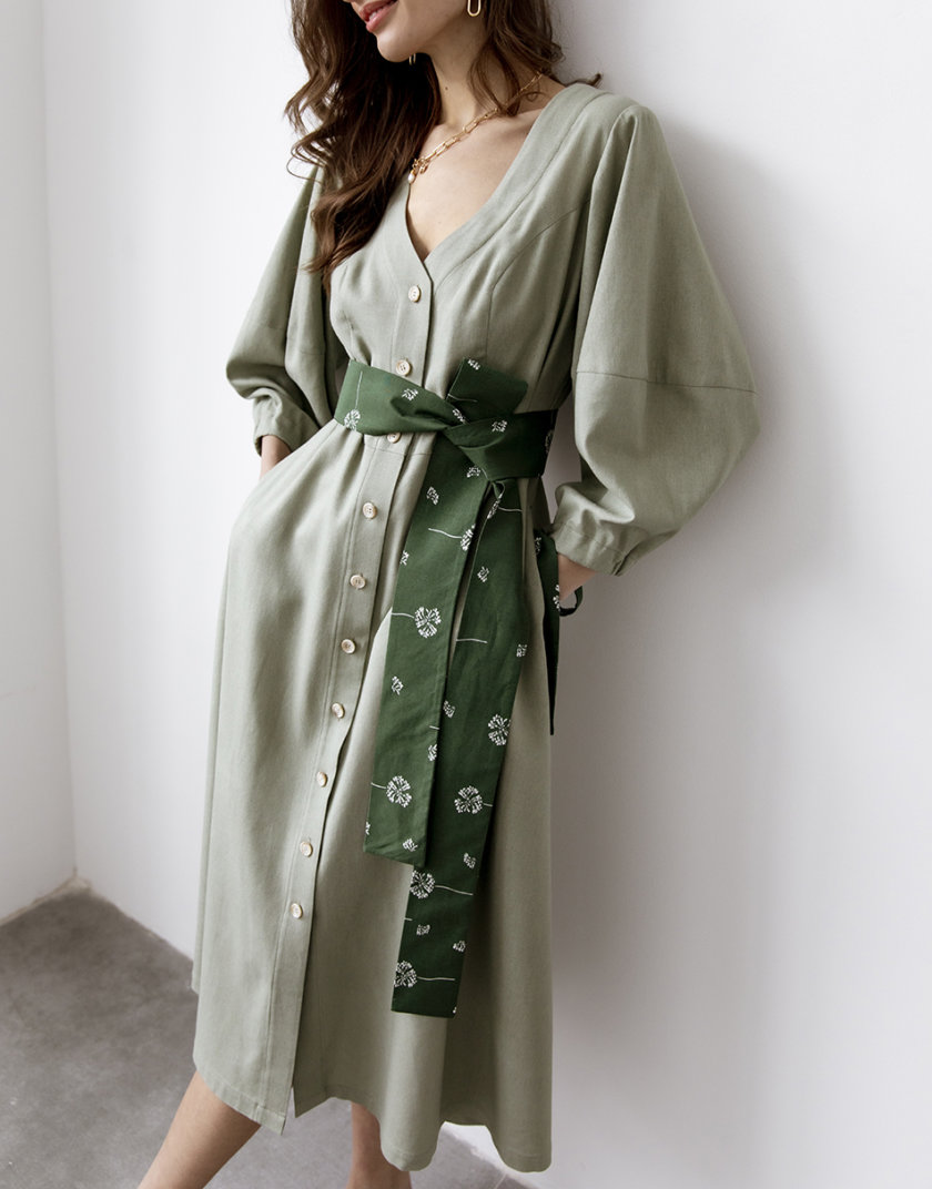 Льняное платье REAL с поясом SNDR_SSR10, фото 1 - в интернет магазине KAPSULA