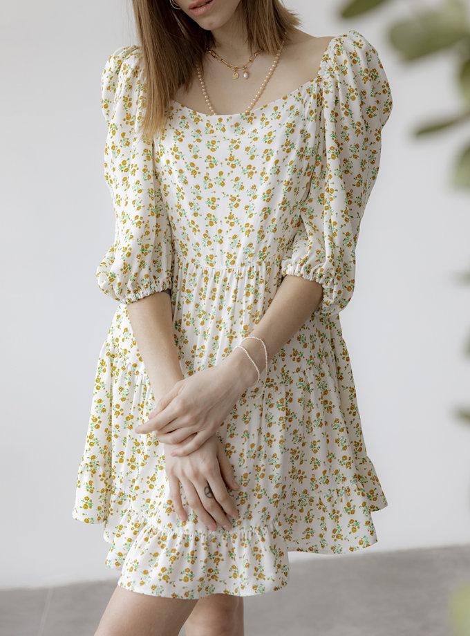 Платье JOY  с объемными рукавами SNDR_SSR11-ivory, фото 1 - в интернет магазине KAPSULA