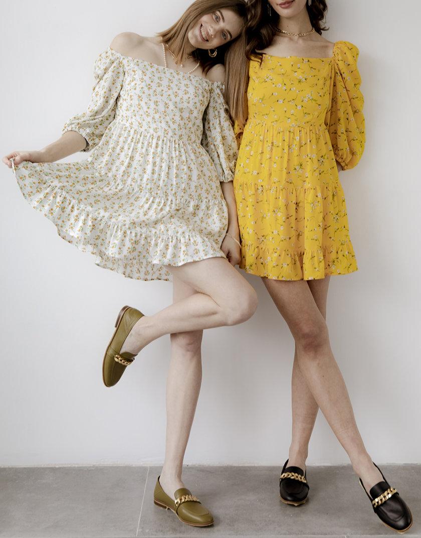 Платье JOY  с объемными рукавами SNDR_SSR11-yellow, фото 1 - в интернет магазине KAPSULA