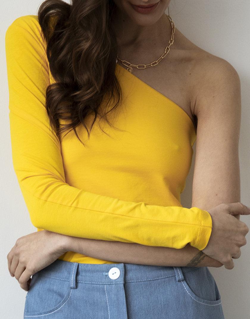 Хлопковый лонгслив на одно плечо Yellow SNDR_SSR13-yellow, фото 1 - в интернет магазине KAPSULA