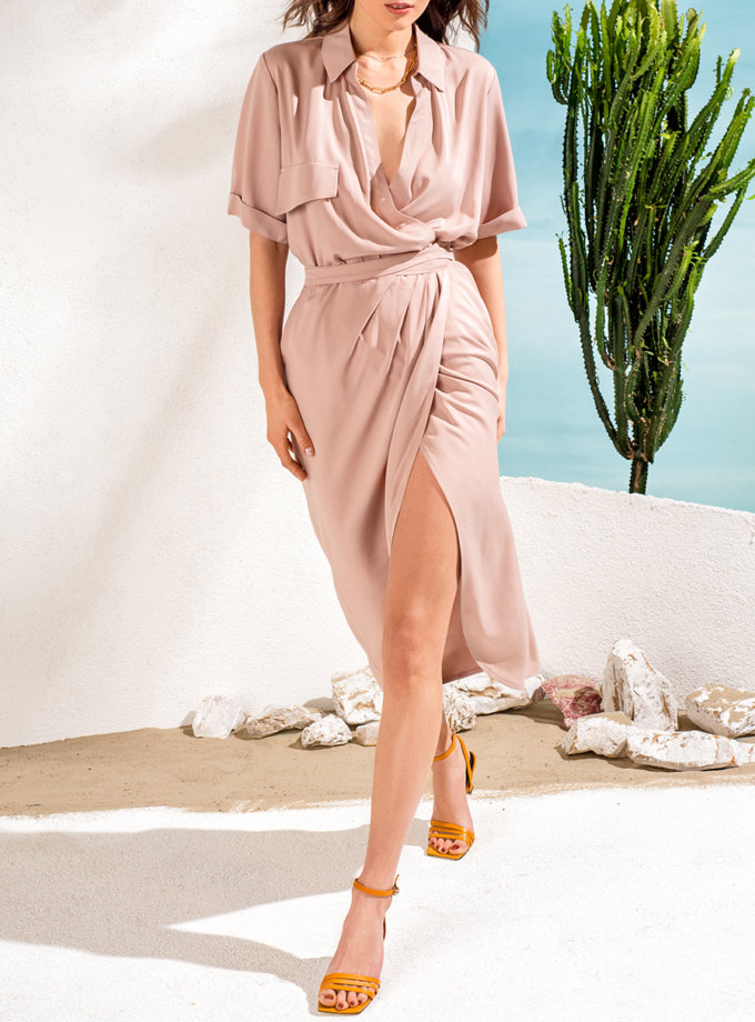 Платье-рубашка на запахе KS_SS24_36, фото 1 - в интернет магазине KAPSULA