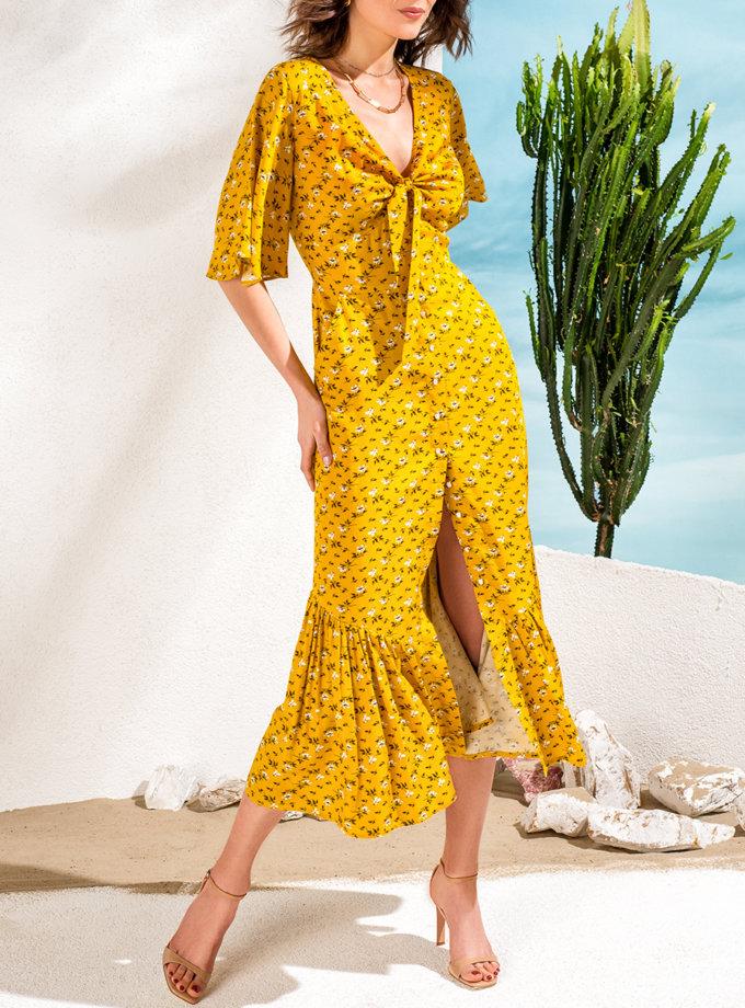 Платье с воланом на пуговицах KS_SS24_01, фото 1 - в интернет магазине KAPSULA