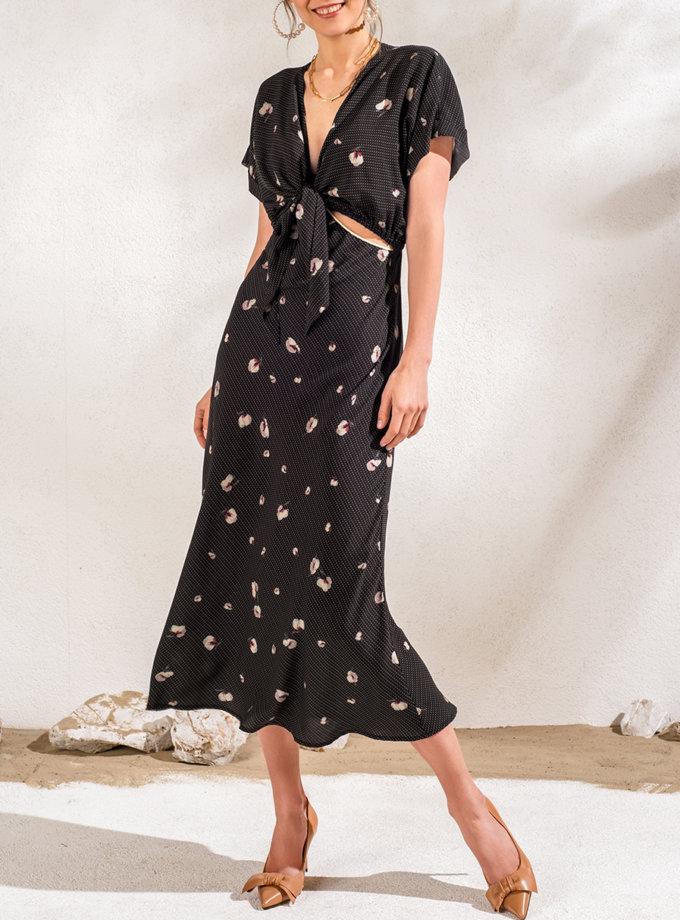 Платье миди с лифом на завязке KS_SS24_31, фото 1 - в интернет магазине KAPSULA