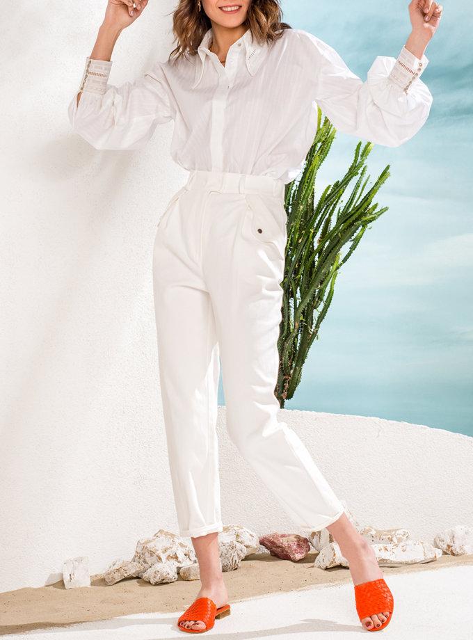 Рубашка с манжетами из кружева KS_SS24_07, фото 1 - в интернет магазине KAPSULA
