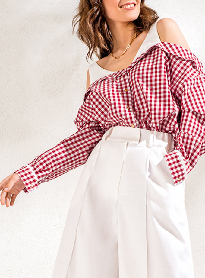 Рубашка с открытыми плечами KS_SS24_04, фото 1 - в интернет магазине KAPSULA