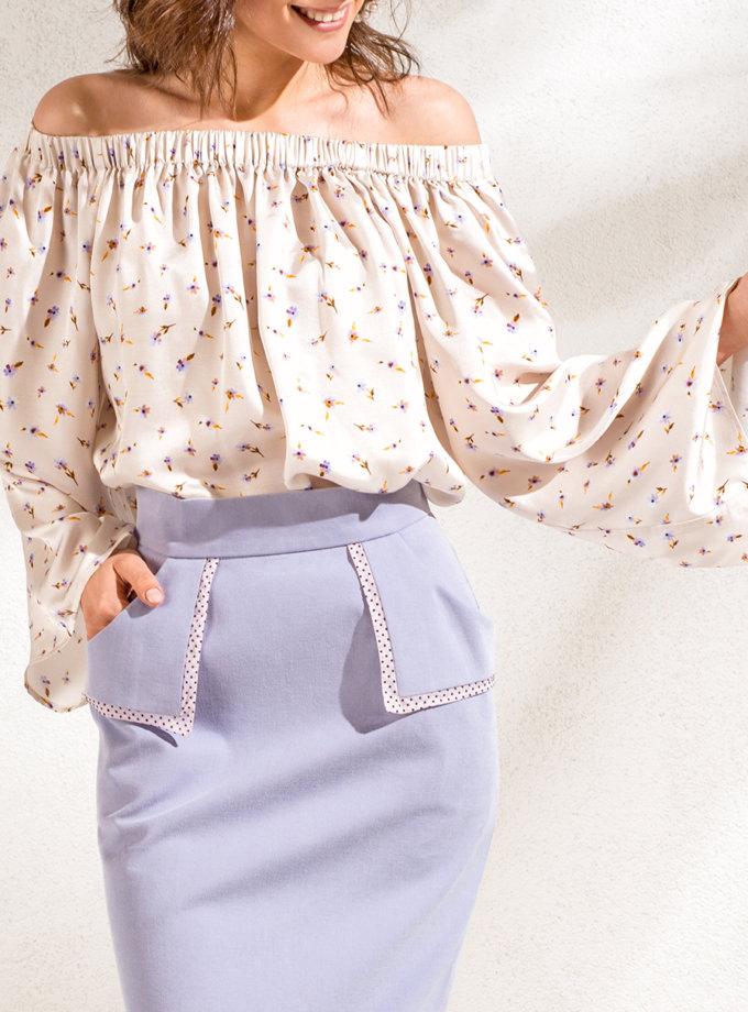 Шелковая блуза с открытыми плечами KS_SS24_14, фото 1 - в интернет магазине KAPSULA