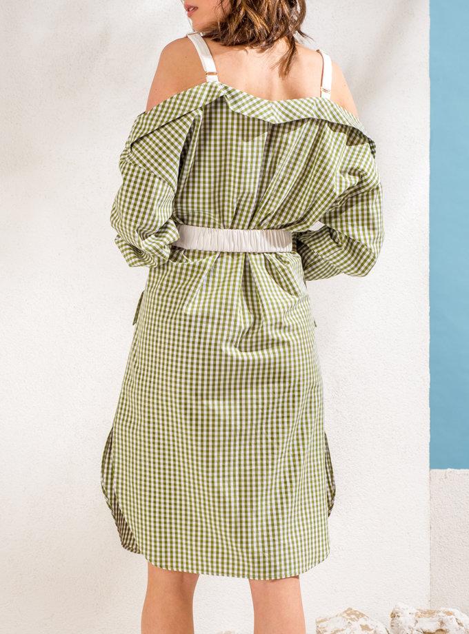 Платье-рубашка с открытыми плечами KS_SS24_09, фото 1 - в интернет магазине KAPSULA