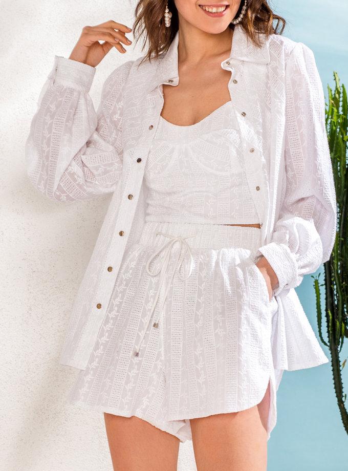 Рубашка из хлопкового кружева KS_SS24_21, фото 1 - в интернет магазине KAPSULA
