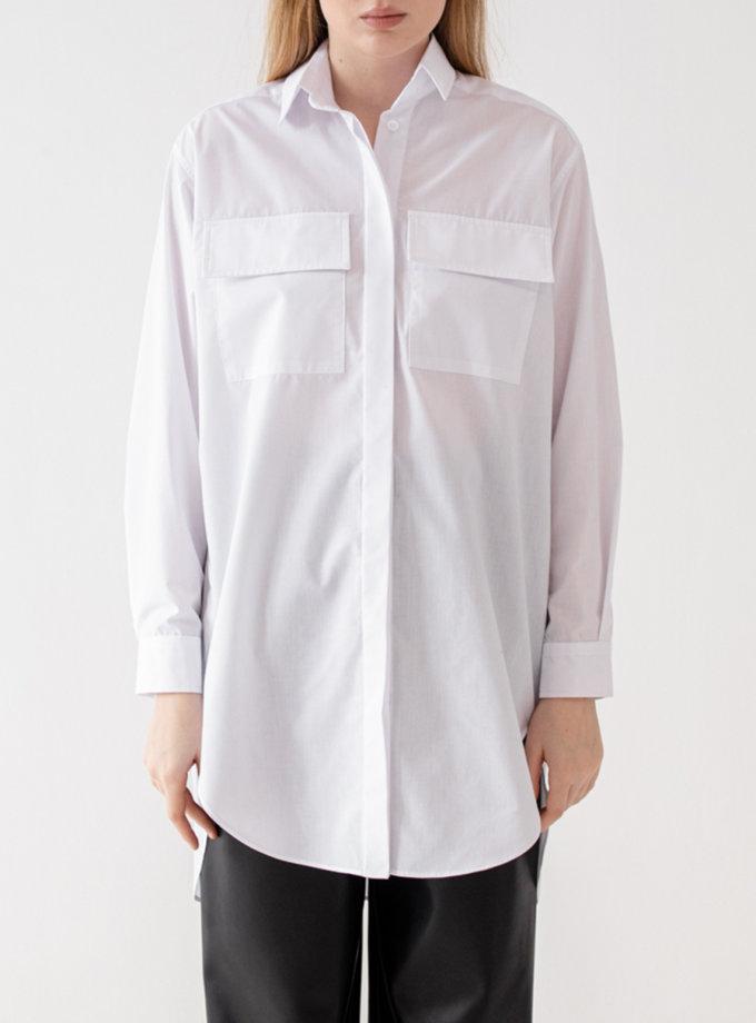 Хлопковая удлиненная рубашка MRZZ_mz_102821, фото 1 - в интернет магазине KAPSULA