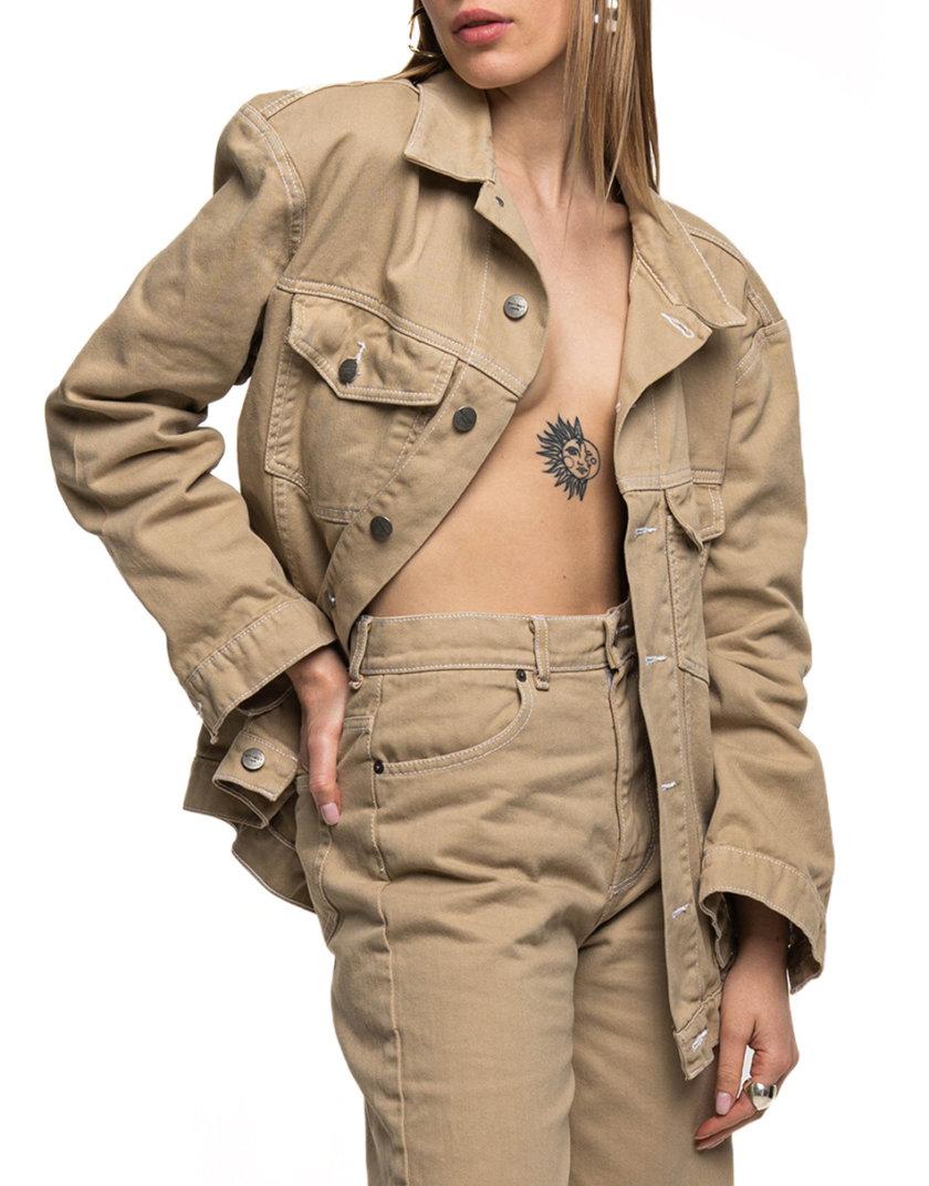 Джинсовая куртка-бомбер WNDM_sp21-bmbr-beige-os, фото 1 - в интернет магазине KAPSULA