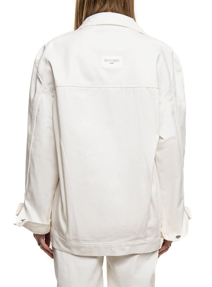 Джинсовая куртка-бомбер WNDM_sp21-bmbr-white-os, фото 1 - в интернет магазине KAPSULA