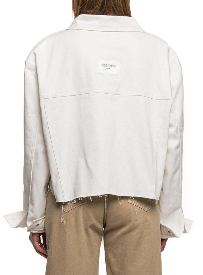 Укороченная джинсовая куртка-бомбер WNDM_sp21-jctcr-white-os, фото 1 - в интернет магазине KAPSULA
