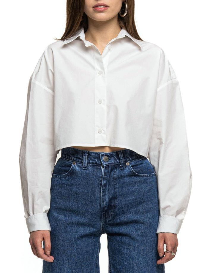 Укороченная рубашка из хлопка WNDM_sp21-shr0-white-os, фото 1 - в интернет магазине KAPSULA