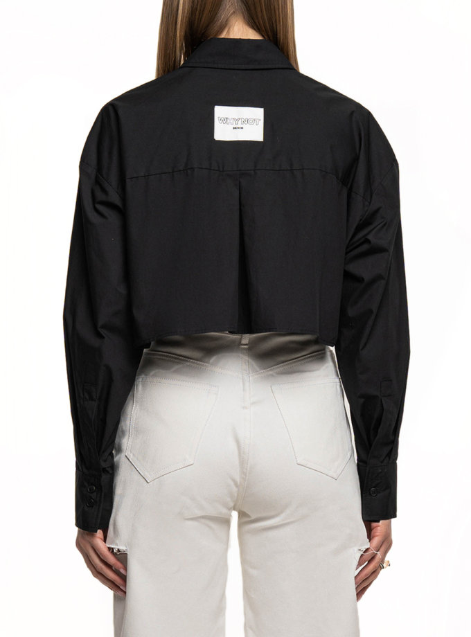 Укороченная рубашка из хлопка WNDM_sp21-shrt1-black-os, фото 1 - в интернет магазине KAPSULA