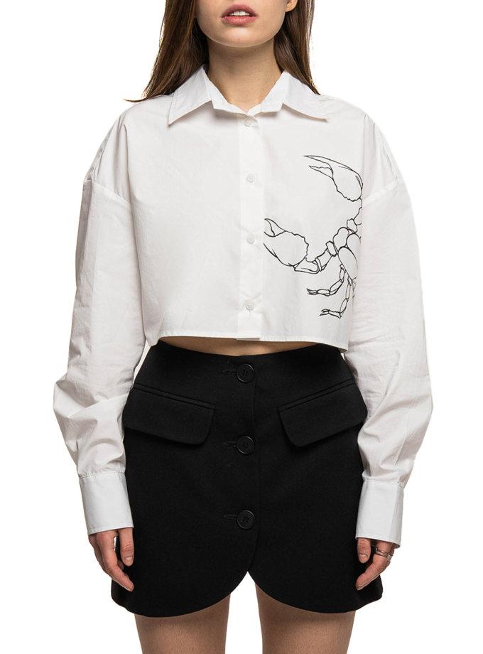 Хлопковая рубашка с тату WNDM_sp21-shrt3-white-os, фото 1 - в интернет магазине KAPSULA