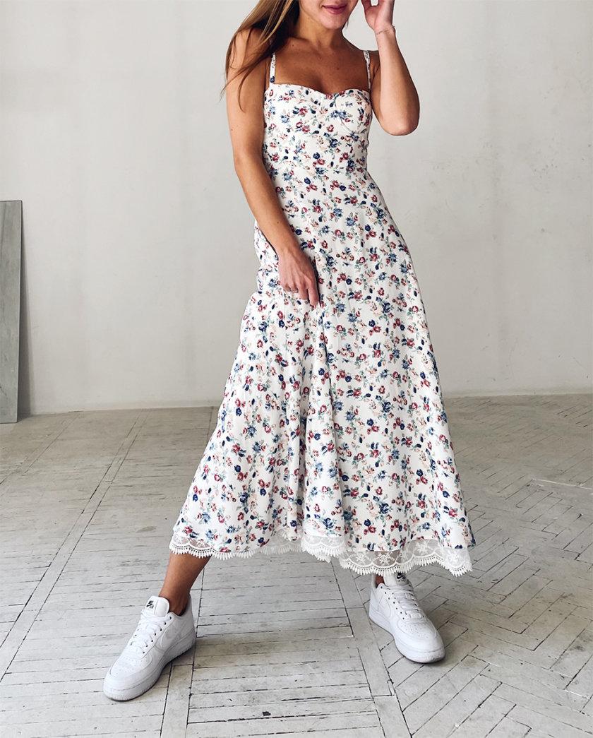 Сарафан с кружевом в цветочный принт WN_AIM 143, фото 1 - в интернет магазине KAPSULA