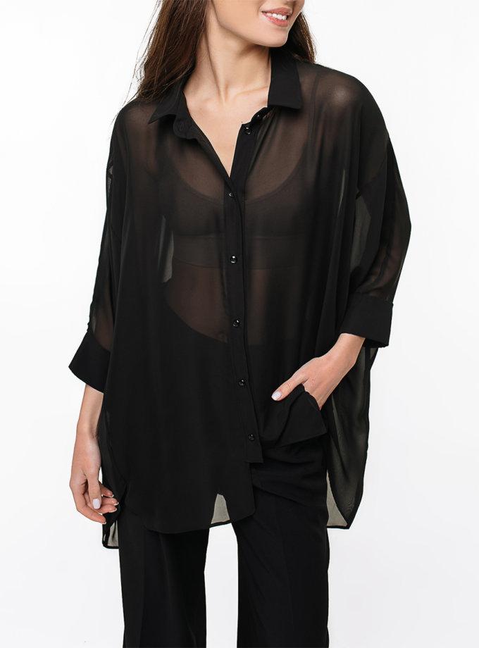 Шифоновая рубашка oversize MGN_2105BK, фото 1 - в интернет магазине KAPSULA