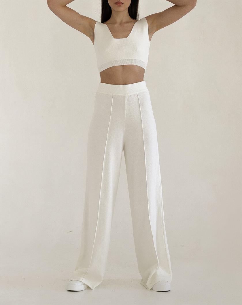 Широкие брюки из трикотажа FRBC_FBKtrous-fl-milk, фото 1 - в интернет магазине KAPSULA