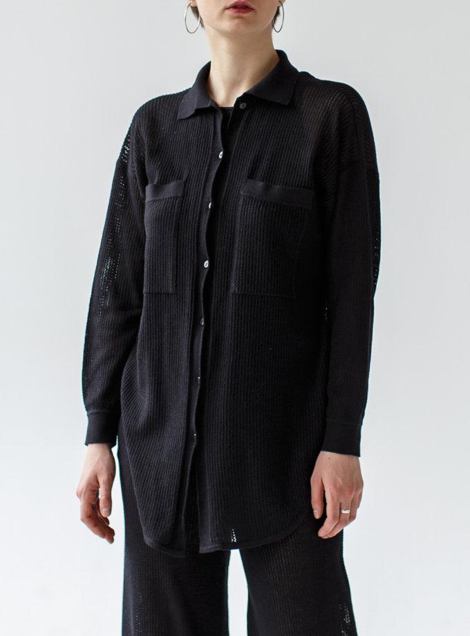 Ажурная рубашка из хлопка NBL_2103-SHIRTLACEBLACK, фото 1 - в интернет магазине KAPSULA
