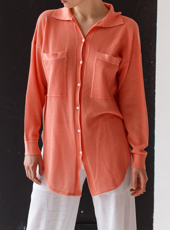 Ажурная рубашка из хлопка NBL_2103-SHIRTLACECORALL, фото 1 - в интернет магазине KAPSULA