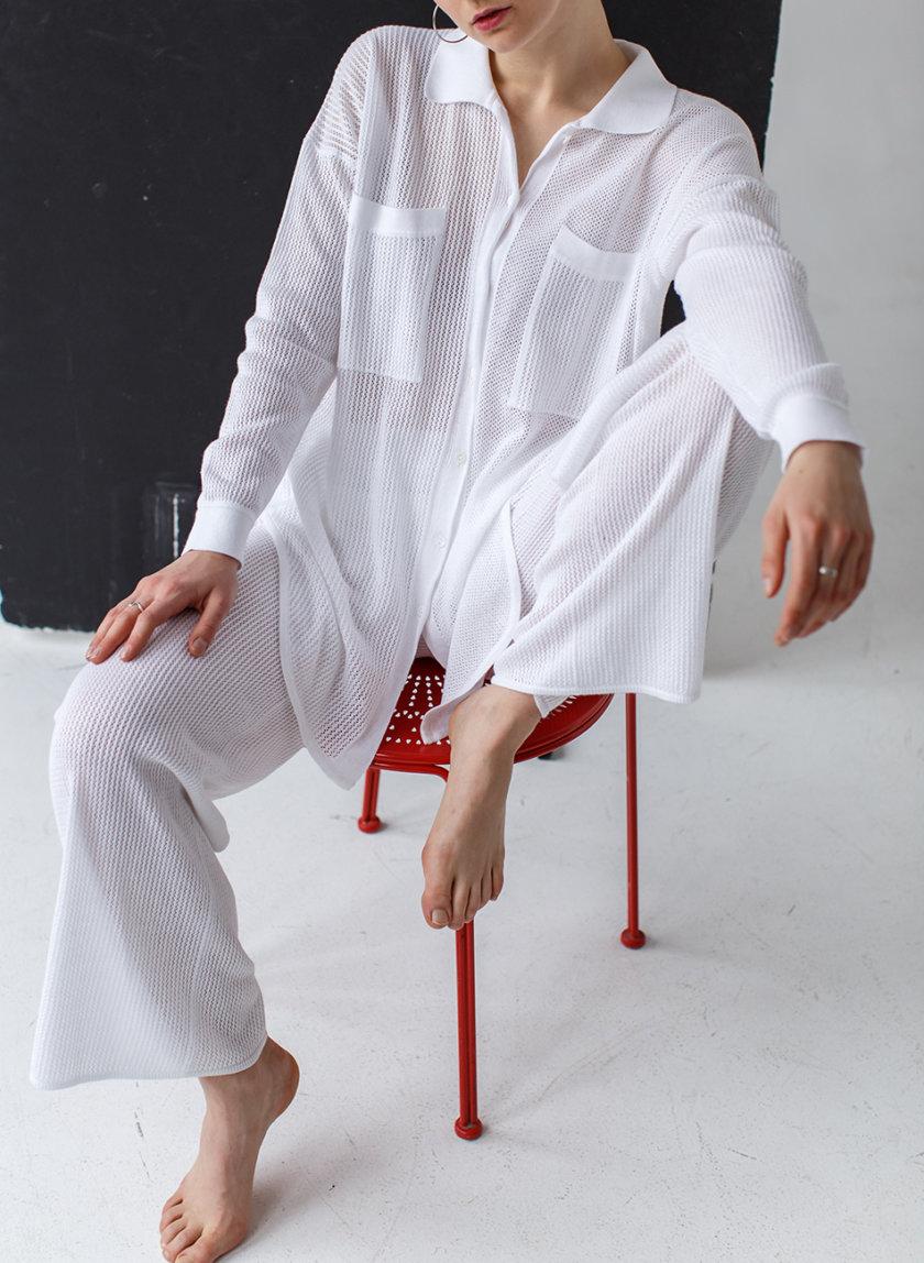 Ажурная рубашка из хлопка NBL_2103-SHIRTLACEWHITE, фото 1 - в интернет магазине KAPSULA