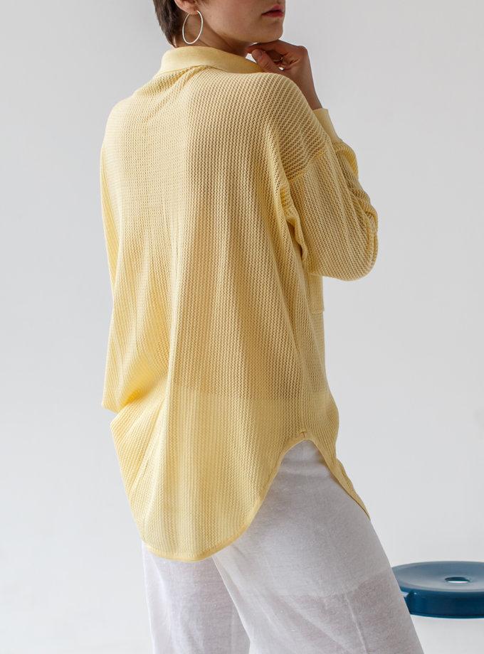 Ажурная рубашка из хлопка NBL_2103-SHIRTLACEYELLOW, фото 1 - в интернет магазине KAPSULA
