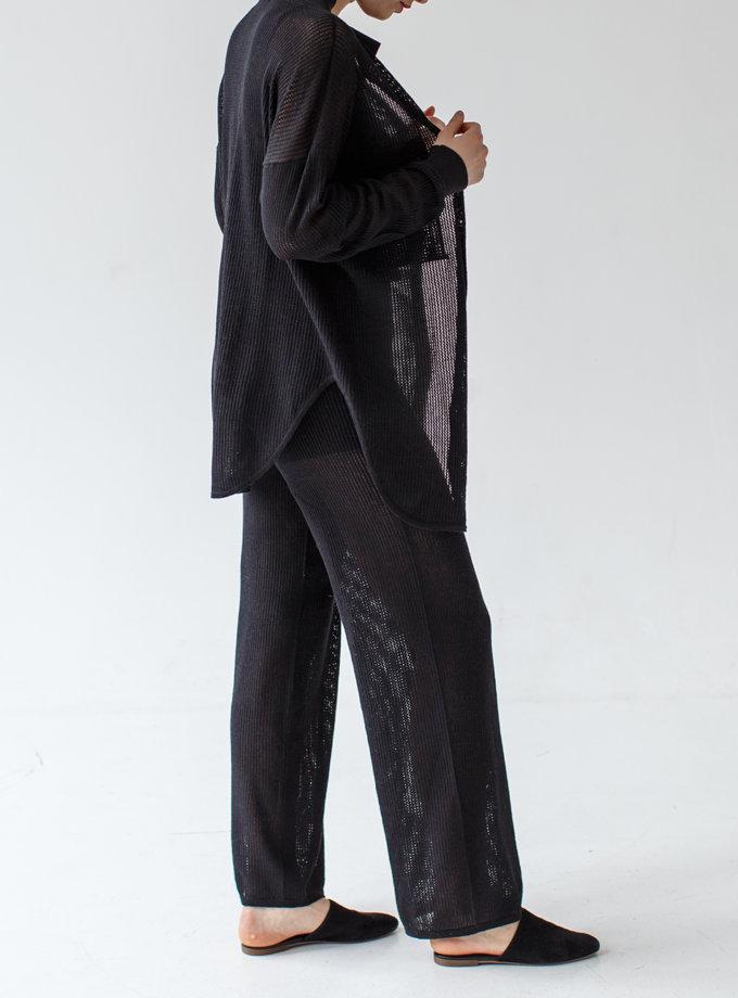 Прямые брюки из хлопка NBL_2103-TROUSERSTLACEBLACK, фото 1 - в интернет магазине KAPSULA