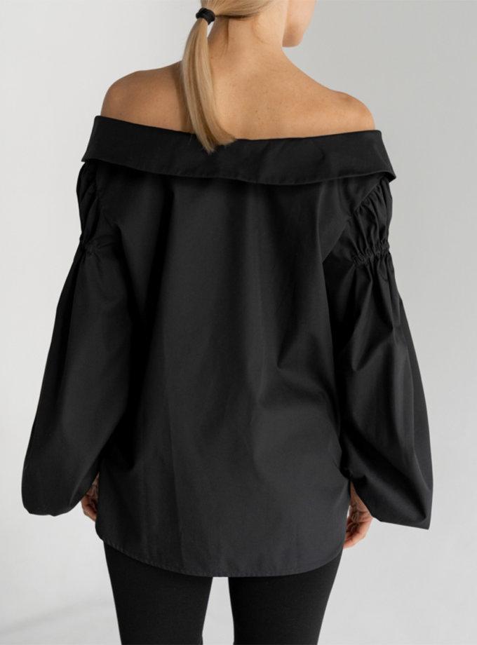 Хлопковая блуза с открытыми плечами SE_SE20_Bls_Margo_B, фото 1 - в интернет магазине KAPSULA