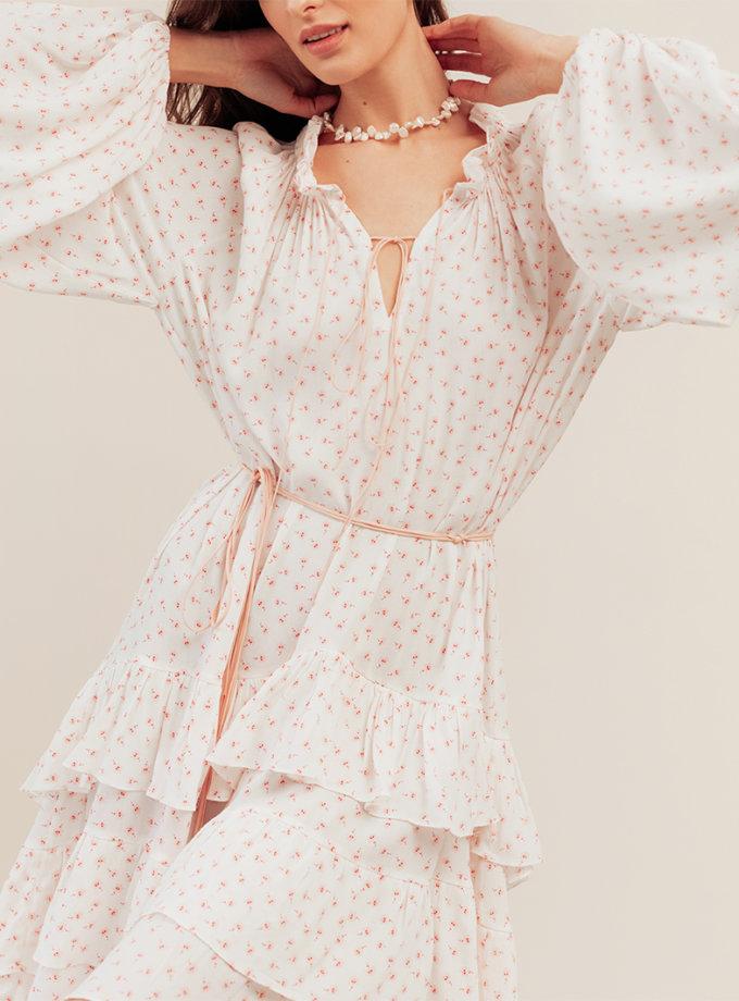 Платье прямого кроя с поясом BETH_BD_SS21_8, фото 1 - в интернет магазине KAPSULA