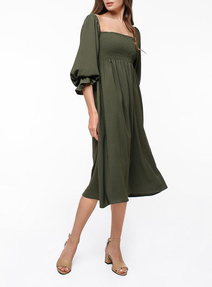 Хлопковое платье миди с объемными рукавами MGN_1723KH, фото 1 - в интернет магазине KAPSULA