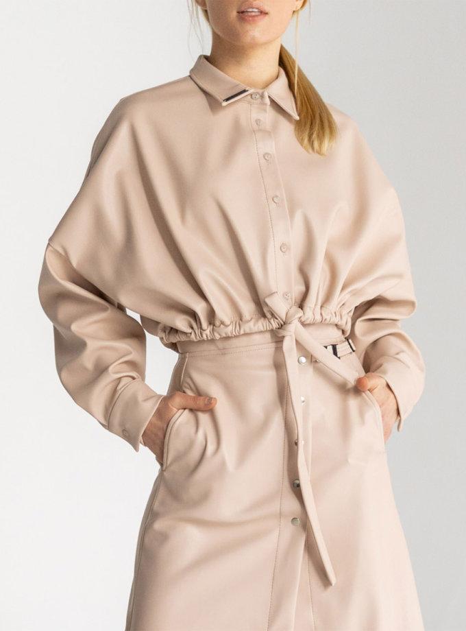 Укороченная рубашка oversize из эко-кожи SE_SE20_Shrt_Crpd_Bg, фото 1 - в интернет магазине KAPSULA