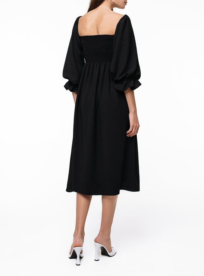 Хлопковое платье миди с объемными рукавами MGN_1723BK, фото 1 - в интернет магазине KAPSULA