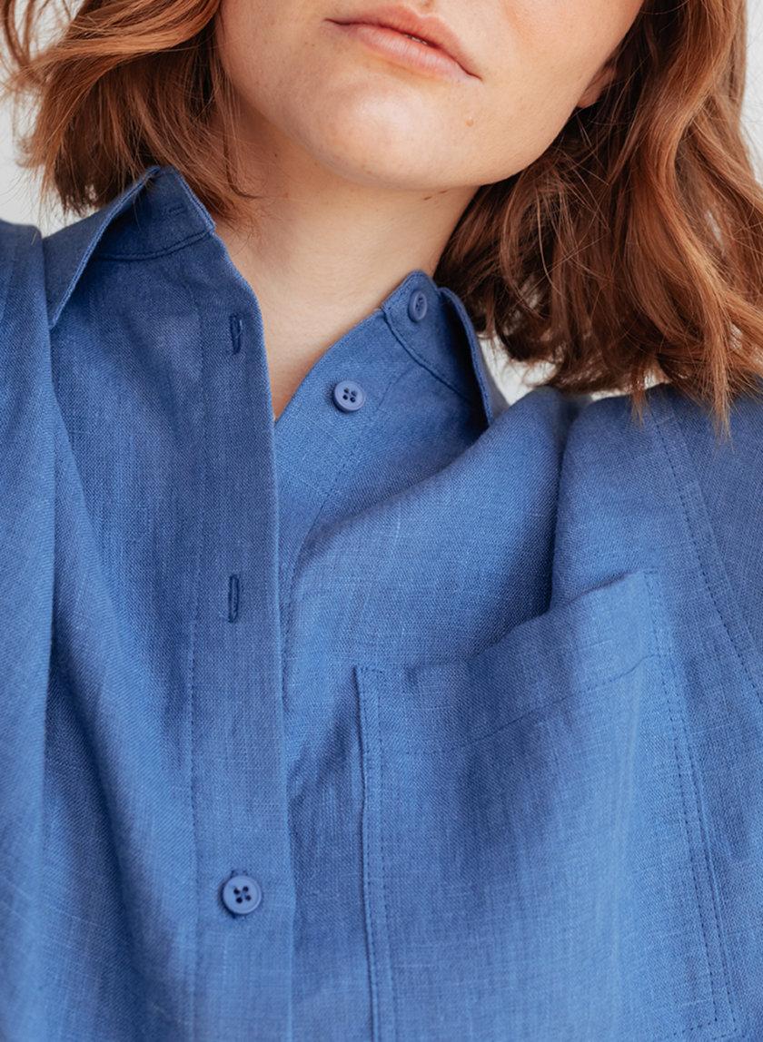 Укороченная рубашка из льна BLCGR_BLCN_798-1, фото 1 - в интернет магазине KAPSULA