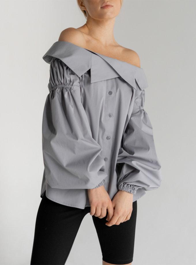 Бавовняна блуза з відкритими плечима SE_SE20_Bls_Margo_G, фото 1 - в интернет магазине KAPSULA