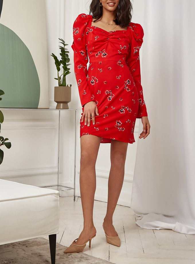 Платье Rebecca с рукавами-фонариками MC_MY3421-4, фото 1 - в интернет магазине KAPSULA