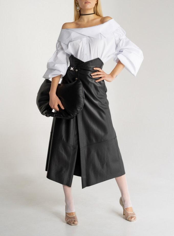 Бавовняна блуза з відкритими плечима SE_SE20_Bls_Margo_W, фото 1 - в интернет магазине KAPSULA