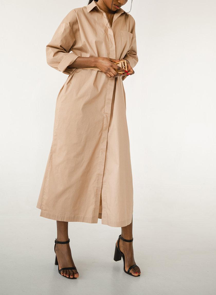 Платье-рубашка из хлопка SHE_dress_camel, фото 1 - в интернет магазине KAPSULA