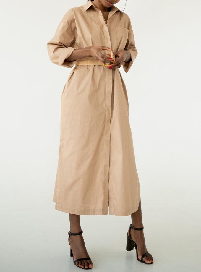 Сукня-сорочка з бавовни SHE_dress_camel, фото 1 - в интернет магазине KAPSULA