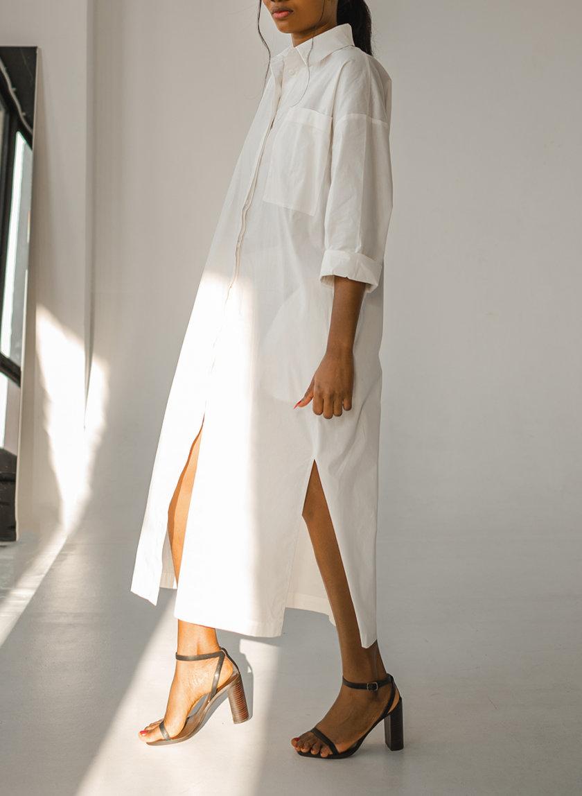 Платье-рубашка из хлопка SHE_dress_white, фото 1 - в интернет магазине KAPSULA